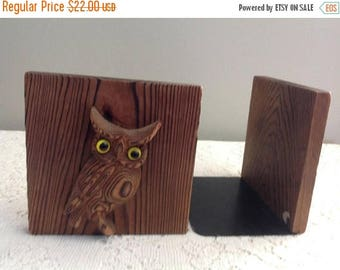 Winter Sale Vintage Owl Bookends Otagiri Wood and Metal Owl Bookends Japan