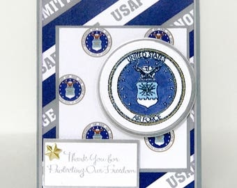 Handmade Military Card, Military Promotion,  Military Retirement, Air Force, United State Air Force Card, Veterans Card, Military Thank You