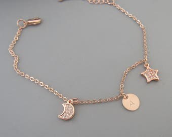 Rose Gold Crescent Moon and Star Bracelet- Star Jewellery- Moon Jewellery- Personalized custom moon and star bracelet- Initial bracelet