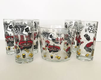 Vintage Poker Las Vegas Glasses and Ice Bucket Set