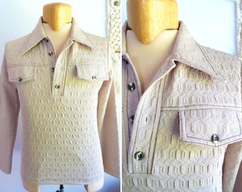 1970s beige polyester long sleeves polo