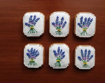 Lavender plaque, 6 pieces.icing decorated art-cookies