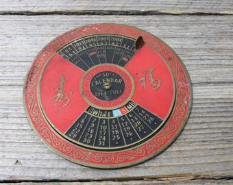 Vintage brass perpetual calendar for 1964-2013, beautiful 50-year calendar