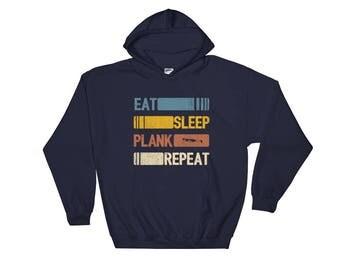 Eat Sleep Plank Repeat Funny Vintage Retro Gift Hoodie