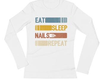 Eat Sleep Nails Repeat Funny Vintage Retro Gift