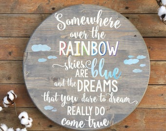 Somewhere over the rainbow | Hand painted wood sign | Round wooden sign | Hand Painted Sign | Nursery wood sign | Rainbow baby
