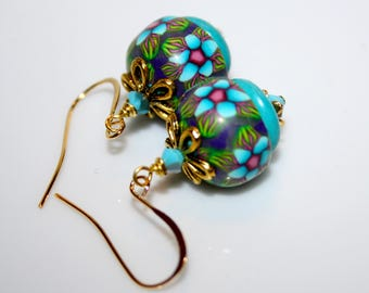 Earrings turquoise blue and purple