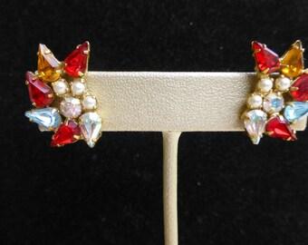 B. David Multi Color Rhinestone and Faux Pearls Clip Earrings