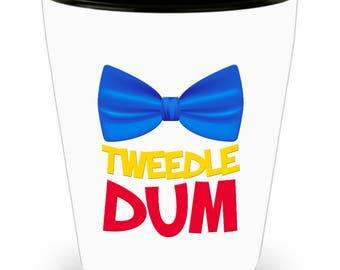 Disney Tweedle Dum Funny Gift Shot Glass Dee Disneyland Bow Tie Alice