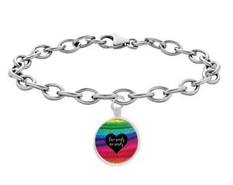 Autism Awareness Love Needs No Words Bracelet Gift Puzzle Ribbon (Choice of Metal)