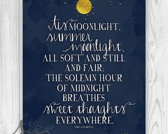 Emily Bronte Typography Art Print or Canvas, Summer Moonlight Emily Bronte Quote, Emily Bronte Typography Art, Moon and Stars Home Decor
