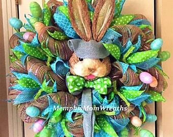 Easter Bunny Deco Mesh Wreath - Deco Mesh Wreath - Easter Wreath - Bunny Wreath - Spring Wreath