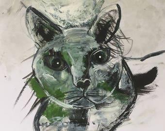 Cat Green - Acrylic Paintings - Black White Art - Original Artwork - Animal Portraits Pets - Free Shipping - Portrait - UK Art - Home Decor
