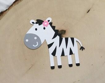 Scrapbook Embellishment, Girl Zebra Die Cuts - Set of 4