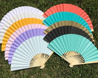 """Paper Fan for Wedding, 9"""" Hand Fan, Outdoor wedding, Beach wedding, Wedding Favor, Party Favor, White, Ivory, Arctic Blue, Teal, Gold, Pink"""