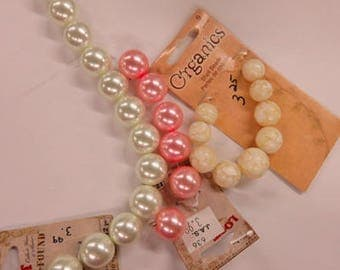 Glass Pearls & Shell Beads - 3 Strands of Pearls and Beads - New, Never-Been-Used Beads