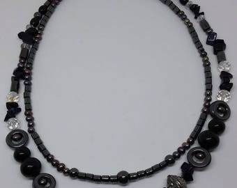 Double Strand Mixed Materials Black Bead Necklace