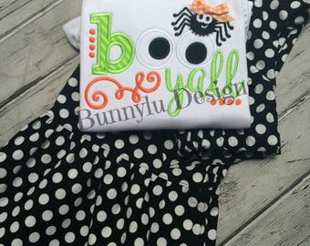 Girls Black And White Polka Dot Ruffle Pants, Halloween Outfit, Boo Y'all Shirt, Ruffle Shirt, Spider Shirt