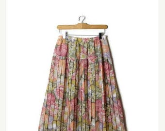 ON SALE Vintage Colorful Floral Printed Pleated Sheer Skirt from 1980's/W25-36*