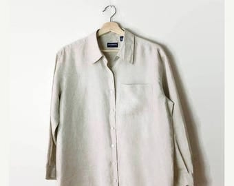 ON SALE Vintage Oatmeal/Light Beige Linen Cotton Long sleeve Shirt /Blouse from 90's*