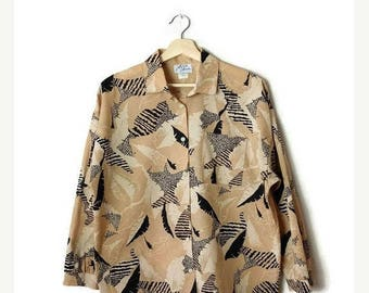 ON SALE Vintage Beige/Black Abstract  Long sleeve Blouse from 1980's*
