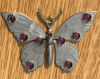 Large Vintage Silver Purple Moonstone Spotted Butterfly Pendant, Costume Jewelry