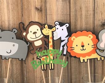 Jungle Animal Centerpieces, set of 7