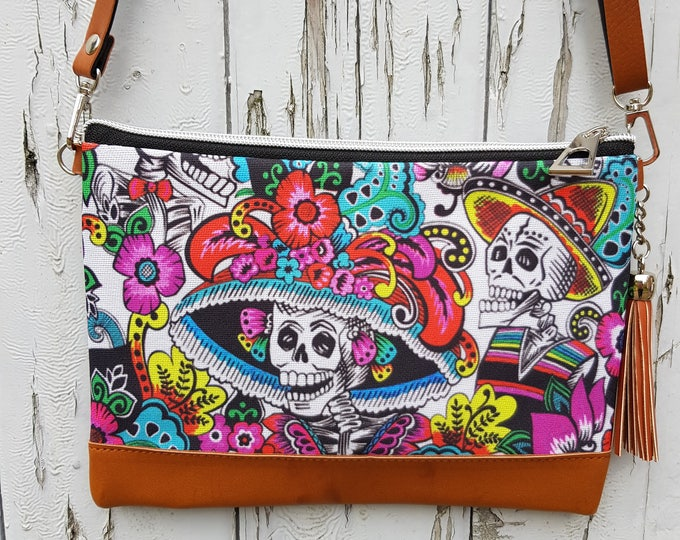 Day of the Dead Skeleton Handbag - Mexican Fiesta Candy Skull  Halloween Bag Brown