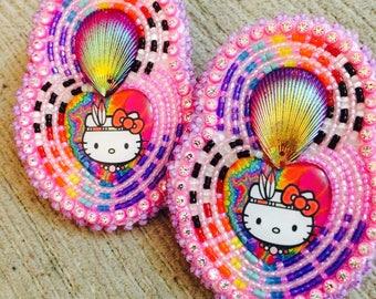 Native American hello kitty beaded earrings