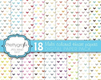 80% OFF SALE multi colored heart digital paper, commercial use, scrapbook papers, background - PS590
