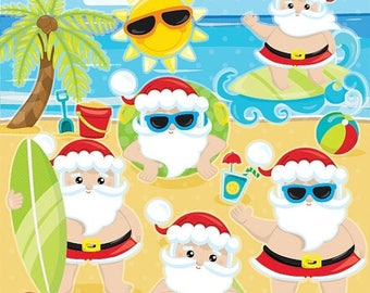 80% OFF SALE Santa clipart commercial use, Summer Santa clipart, Santa Claus Clipart, Vacation Santa graphics, Christmas clipart - CL1037