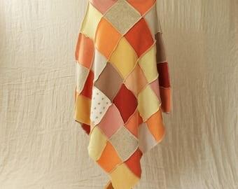 Upcycled Patchwork Poncho. Recycled Wool Knitwear. Roll Neck, Medium. Orange, Yellow, Summer. Handmade UK OOAK Ethical Clothing. Ecofashion