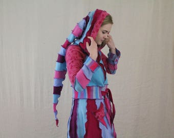 Hot Pink & Turquoise Upcycled Coatigan, Sweatercoat. Funky Pixie Hood Handmade in UK Recycled Wool Knitwear. Spots, Stripes, OOAK.