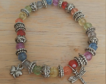 Beautiful Vintage Colorful Plastic Beaded Flower Dragonfly Charm  Stretch Bracelet