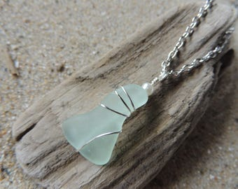 Handmade Surf Tumbled Aqua Sea Glass Pendant Hand Wrapped on Chain with Pearl Accent