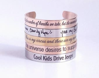 Cuff Bracelet - Custom Bracelet - Personalized Jewelry - Engraved Cuff - Gold - Silver - Rose Gold - Customized - Handwriting - Bangle