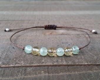 Citrine and prehnite bracelet