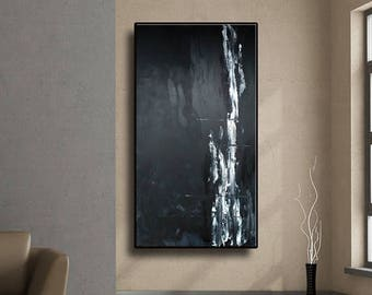 """48"""" Original Abstract Painting Set of 2 Acrylic Large Painting Modern Black White Grey Wall Art AUL062"""