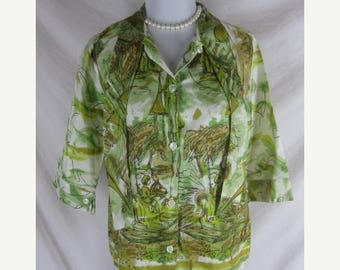 On sale 40s 50s Laviesa Womens Vintage Scenic Mexican Shirt Top Blouse