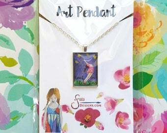 Reach for the Stars Pendant Necklace of miniature inspirational art print from whimsical drawing of girl. Unique gift of Encouragement