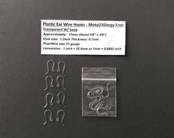 Larger 17mm- Plastic Ear Wire Hooks - Metal Allergy Free -French Hook, Fish Hook - (8 pcs. = 4 Pairs)