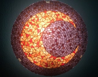 Moon mosaic sconce, stained glass wall lamp, night light moon lamp