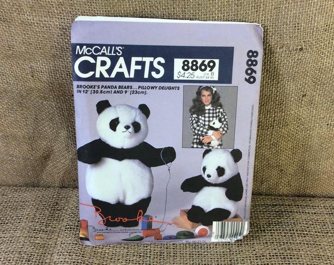McCalls 8869 Panda Bear Brooke Shields endorsed, vintage panda bear sewing patternfrom 1983, stuffed animal sewing pattern, 2.00 US shipping