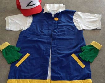 POKEMON GO  Men's Large    -  Ash Ketchum Pokemon Trainer Costume  -  Cosplay - 3 pc