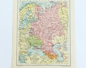 Russia map, Vintage Map of Russia in Europe, 1934 map, pastel map, vintage colours map