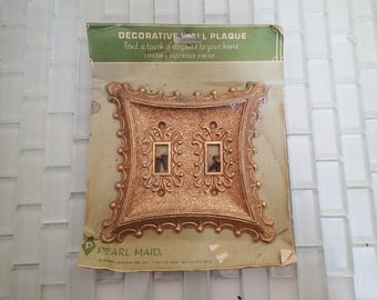 Hollywood Regency Switchplate Double - Dual Gold Metal Switch Cover - Pearl Maid
