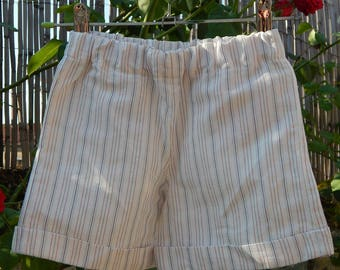 Short boy white linen with red and blue stripes