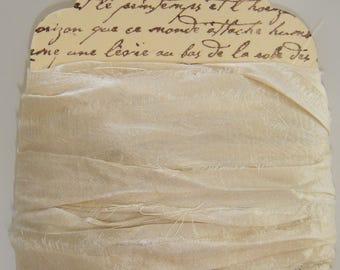 10+ Yards  Silk Sari Ribbon ...  Ivory