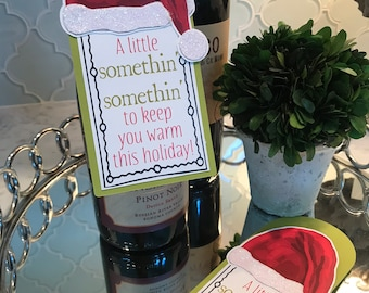 SALE! Half Off Original Price! A Little Somethin' Somethin' Santa's Hat Glittery Wine Tag
