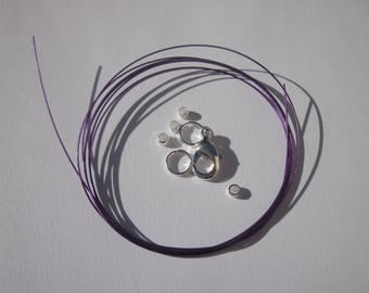1 meter of cable wire-wrapped, ring, clasp, crimps (K17